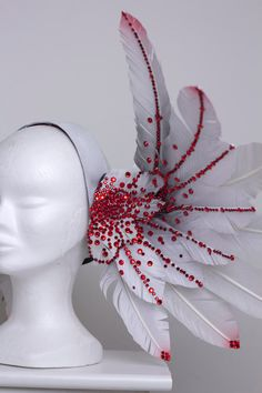 White Blood Red Valkyrie Wing headdress by Fairytas on Etsy