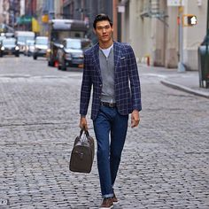 Relaxed yet elegant in the Blue checked Hudson.