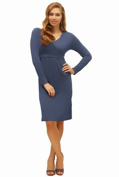 Versatile v-neck nursing dress goes from casual to dressy with a quick change of shoes and accessories.      Available mid-September in blue (shown) and black.