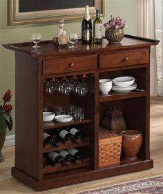 Hardwood Dry Bar with Pull-Out Shelf and Stemware Rack