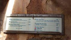 Tamu Tamu Refreshments menu Jan 5 2015
