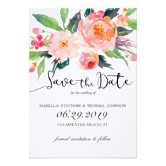 Chic Watercolor Floral Save the Date Card Happy EARTH Day! Save 22% on all orders Use Code: LUVOURPLANET