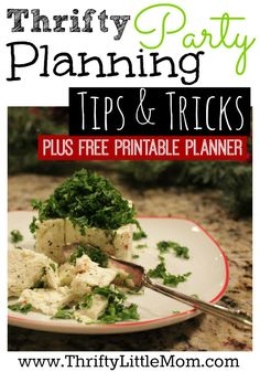 Thrifty party planning tips & tricks plus free printable planner.  Host outstanding parties, stress free on a simple budget.
