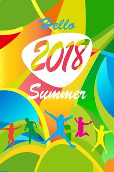 Olympic sports 2018 Hello Summer Festival 2018 music, jazz, pop, disco, dance, club, Holiday colorful modern poster, flyer, brochure cover layout vector. Abstract composition with geometric dynamic shapes modern design template. Carnival, Kids, Sport, Camping, vector