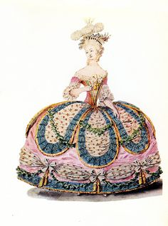 I recently purchased two very vintage and wonderful Marie Antoinette books, from the 1900s and 1930's, filled with loads of galerie des modes and marie images, which I have scanned, restored and touched up the color. Many of these are rare, I had to share some for you from the Marie CD and the Fashion Plate CD!   Here is a rare fashion plate image during the reign of Marie Antoinette. This dress and others were described as Ceremonial Dresses for occasions such as a soiree, ball, birthday…