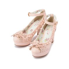 LIZ LISA:【LIZ LISA】フリルパンプス ❤ liked on Polyvore featuring shoes, heels, lolita, shoes - heels and pink