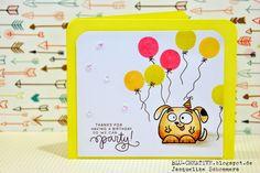 Die knallige Geburstagskarte mit dem süßen Stempelset #ChubbyChums von #PaperSmooches bringt wahrlich Farbe ins Leben :-) und ins neue Lebensjahr!