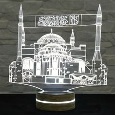 This Mosque shaped LED lamp has an amazing effect. You can use it as home decor, office decor, desk lamp, bedside light etc. It creates different ambience in your rooms. Lampe 3d, Neon Box, 3d Optical Illusions, 3d Printer Designs, Islamic Art Pattern, Glass Engraving, Bedside Lighting, Ramadan Decorations, Luz Led