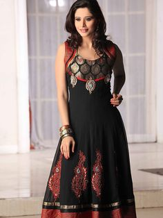 Black Faux Georgette Churidar Anarkali kameez with Dupatta