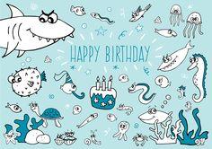 www.oliviaponcelet.com illustration happy birthday cake candles children kids cute dessert drawing flowers nature smile sweet pink owl Olivia Poncelet illustrator photograph graphic designer ocean fish sea shark turtle card