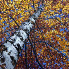 Day Dreaming - Aspen Prints - Birch Tree Aspen Paintings by Jennifer Vranes 48x48