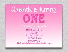 Pink Hot Pink Birthday Invitation  1st by TheTrendyButterfly