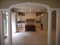 Archway with columns & Kitchen