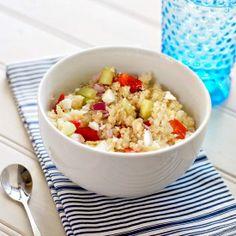 Refreshing Greek inspired Quinoa Salad.