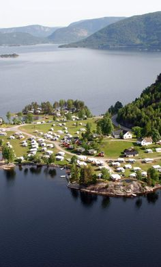 Aerial photo of Neset Camping in Setesdal
