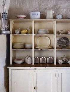 Kitchen wall shelf - I like compartments to organize & display.