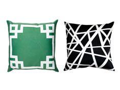 "Green and Black: (Left) Greek Key Border 16"" x 16"" polyester pillow, $34, zazzle.com; (Right) Bird's Nest 20"" x 20"" polyester pillow, $60, pillowdecor.com"