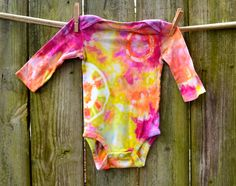 6-12 Months Long Sleeve Ice Dyed Onesie Yellows, Pinks and Oranges Tie Dye Baby by Hippybb on Etsy