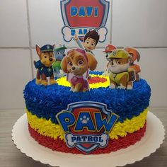 Paw Patrol Birthday Theme, 2nd Birthday Party Themes, 4th Birthday Cakes, Paw Patrol Party, Card Birthday, Birthday Greetings, Birthday Ideas, Happy Birthday, Bolo Do Paw Patrol