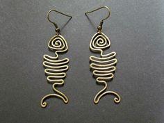 Bone fish wire Earings