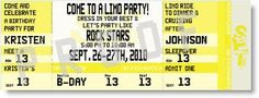 Limo Party Ticket Invitations