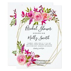 Pink Peach Roses Watercolor Flowers  Bridal shower Card - invitations custom unique diy personalize occasions