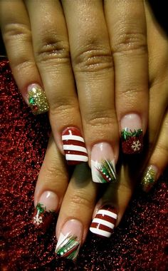 Christmas-themed acrylic nails