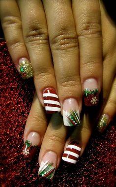 Christmas-themed acrylic nails