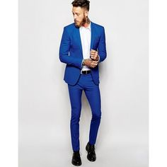 ASOS Super Skinny Suit Jacket In Blue ($98) ❤ liked on Polyvore featuring men's fashion, men's clothing, asos mens clothing and tall mens clothing