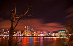 Portland, Oregon after dark