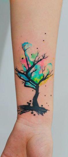 Love this cute Watercolor Tattoo Idea