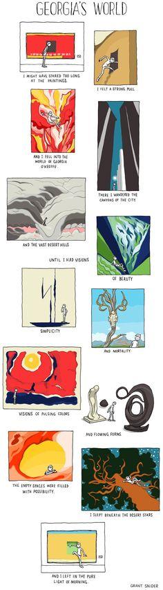 Grant Snider in Who Needs Art? Georgia's World : A journey through the paintings of Georgia O'Keeffe High School Art, Middle School Art, Art Room Posters, Georgia Okeefe, Ap Art, Arts Ed, Art Classroom, Classroom Ideas, Teaching Art