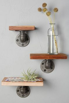 Industrial Pipe Design Metal and Wood Shelf Ann (3) -- You can get more details here : Floating Shelves