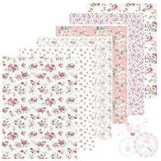 Pink Ditsy Rose Flowers Edible Icing Sheet or Wafer Paper / Card Cake Cupcake