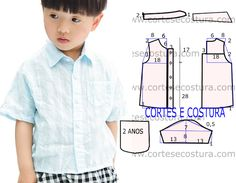 Camisa social infantil passo a passo do corte e costura Baby Dress Patterns, Baby Clothes Patterns, Sewing Patterns For Kids, Sewing Kids Clothes, Baby Sewing, Baby Shirts, Kids Shirts, Baby Boy Fashion, Kids Fashion