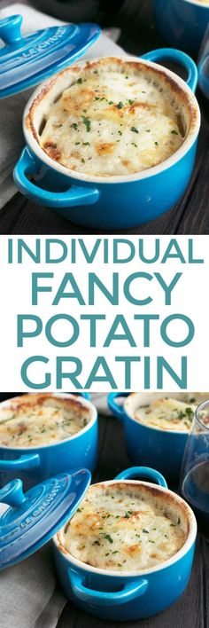 Cheesy Herb Individual Potato Gratin is a fun twist on the classic side dish, perfectly portioned for everyone at your holiday dinner table. The individual side dishes hold creamy, cheesy, herbaceous potato gratin, layered up in mini cocottes that will really wow all of your guests! Cheesy Herb Individual Potato Gratin + A Le Creuset Giveaway! | cakenknife.com #ad #sidedish #potatoes