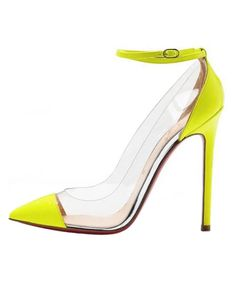 56fc1d1f5f84 Transparent Color Block Point Heeled Sandals http   lawrencebaileyhair.com  Yellow Shoes