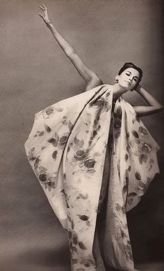 Harper's Bazaar,1961  From Italy The Sweep of Drama Short Ball Gown- Long Train by Fontana