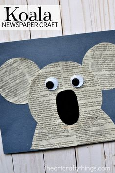 Fun and simple newspaper koala craft for kids, fun kids craft, animal crafts for kids, Earth Day crafts and preschool kids craft.