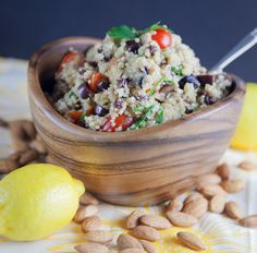 tomatoes, almonds, olives, and tons of fresh herbs make this Moroccan-inspired quinoa salad irresistable