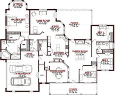 country style house plan 4 beds 25 baths 2804 sqft plan 63 - Large House Plans