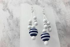 White and Navy Blue Dangle Earrings, Dark Blue Jewelry Set, Navy Blue Earrings Bracelet Set, Nautical Jewelry Womens, Nautical Jewelry Set