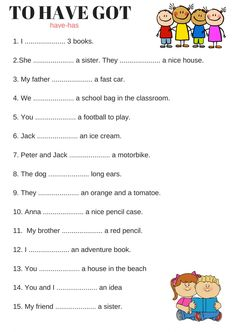 Verb to have interactive and downloadable worksheet. You can do the exercises online or download the worksheet as pdf.