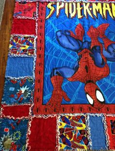 SALE Spiderman Rag Quilt 55 X 49 Boy Toddler Teen by nanaswoolies