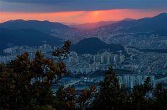 Busan sunset from Jangsan, South Korea.