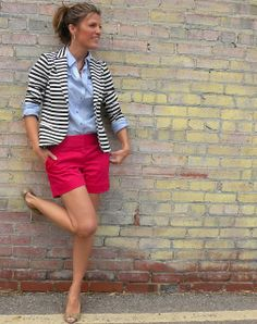 J.crew Inspired Weekend Wear – Shorts With A Striped Blazer - Click for More...
