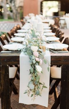 Cassie and Robert's Romantic Rustic Wedding A green and blushing pink table setting Cassie and Roberts Romantic Rustic Wedding Pink Table Settings, Wedding Table Settings, Place Settings, Rustic Table Settings, Floral Wedding, Rustic Wedding, Trendy Wedding, Wedding Reception, Fall Wedding