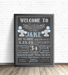 Elephant Baby Shower Chalkboard Sign / Printable Poster / Baby Shower Decorations / Nursery Decor / Gray Elephants / Blue and Gray Sprinkle