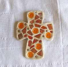 Bread Of Life Orange Stained Glass and Charm by cherryscreations, $22.50