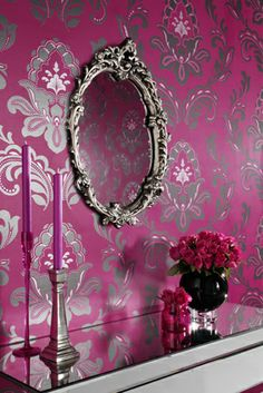 Arthouse Bijoux Wallpaper Black Wallpaper x Pink Wallpaper For Walls, Pink Wallpaper Design, Flock Wallpaper, Damask Wallpaper, Home Wallpaper, Wallpaper Ideas, Damask Bedroom, Bedroom Colors, Master Bedroom